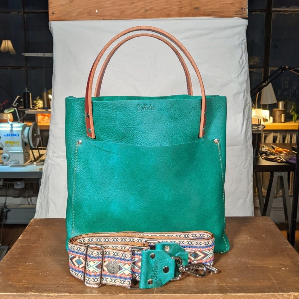 SoRetro FYG Leather Crossbody Tote - Green Turtle Cay with Flamingo Heights on Copper Webbing - Silver Hardware