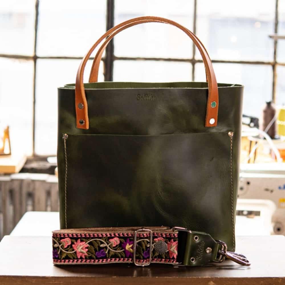 SoRetro Original FYG Leather Crossbody Tote – Emerald City with Oaxaca Flowers in Purple on Copper Webbing – Silver Hardware