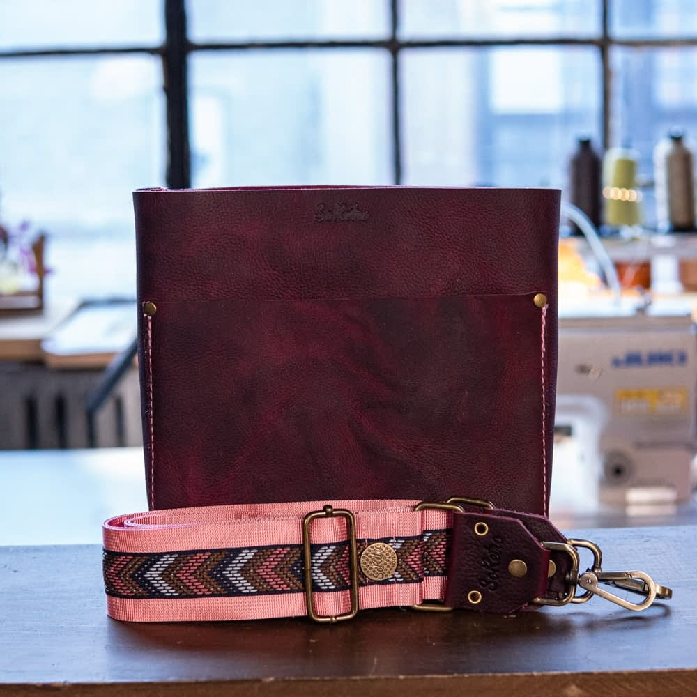 SoRetro Mini FYG Leather Crossbody Tote - Branded Acai Fruit Rollup with Navy and Copper Chevron on Pink Webbing - Bronze Hardware - Handleless