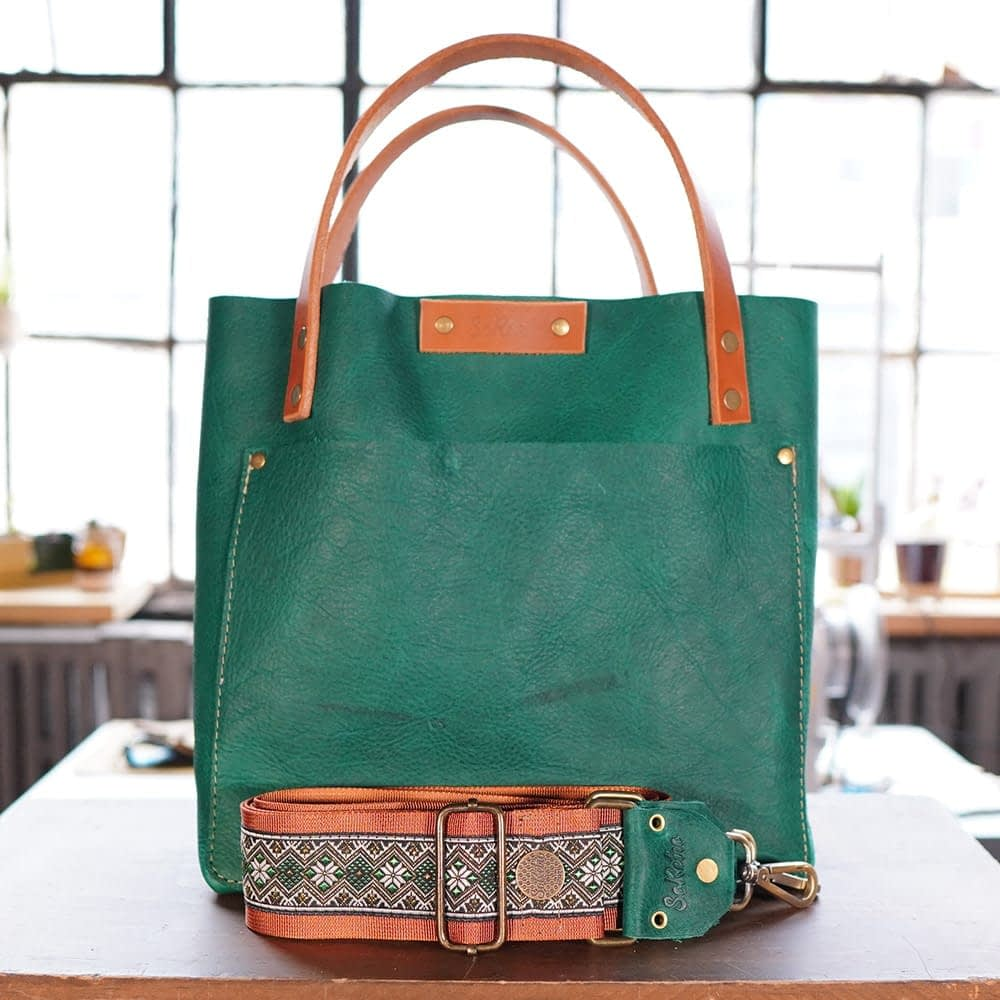 SoRetro FYG Leather Crossbody Tote - Green Turtle Cay with Emeralds and Diamonds on Burnt Orange Webbing - Bronze Hardware with Snap Closure