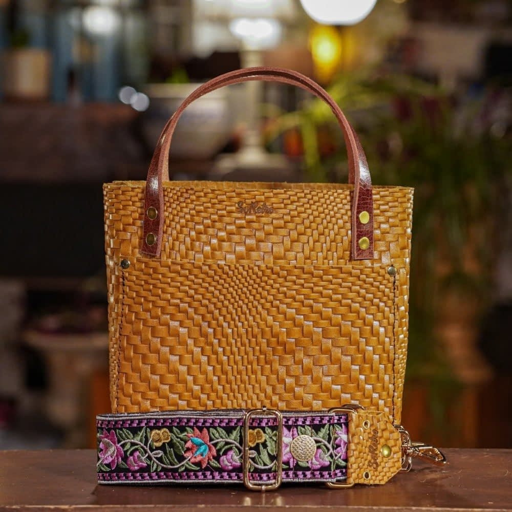 SoRetro Mini FYG Leather Crossbody Tote - Warped Granola with Oaxaca Flowers in Pink on Chocolate Brown Webbing - Shiny Gold Hardware