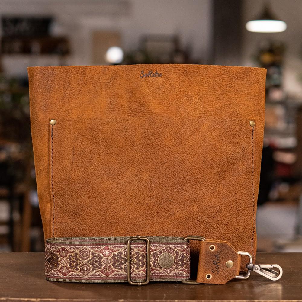SoRetro Original FYG Leather Crossbody Tote – Floppy Cowboy with The Madame on Olive Webbing – Bronze Hardware - Handleless