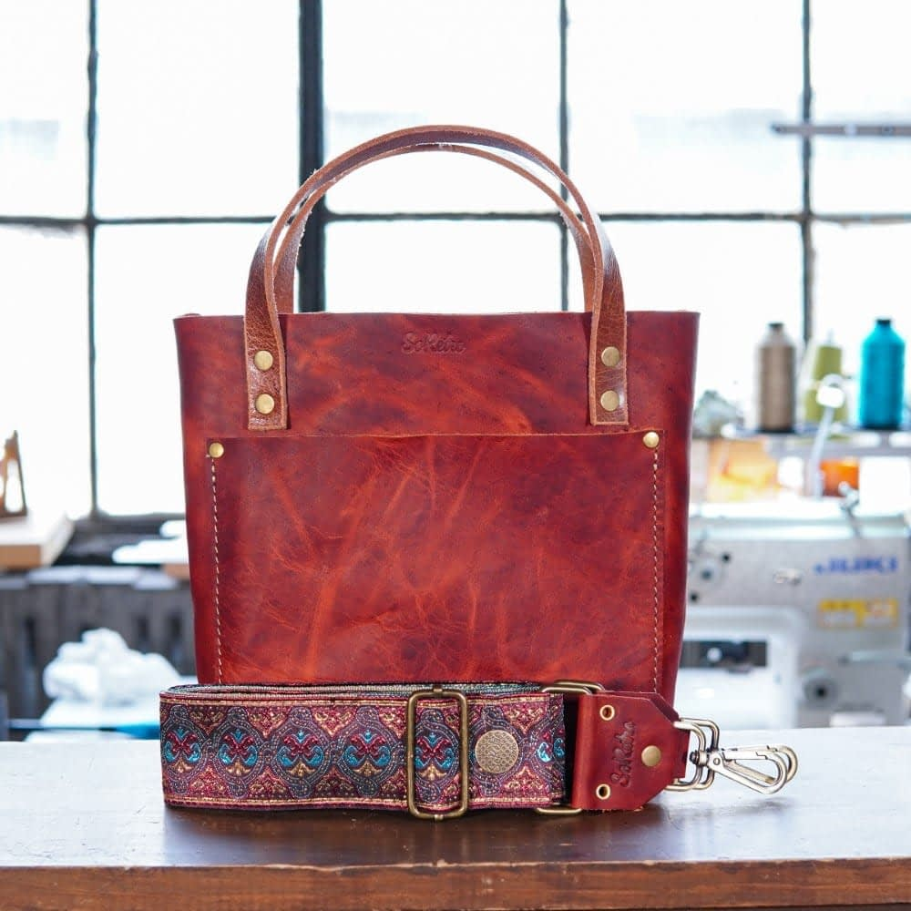 SoRetro Mini FYG Leather Crossbody Tote - Mars Valley with Detroit Gypsy on Gold Webbing - Bronze Hardware