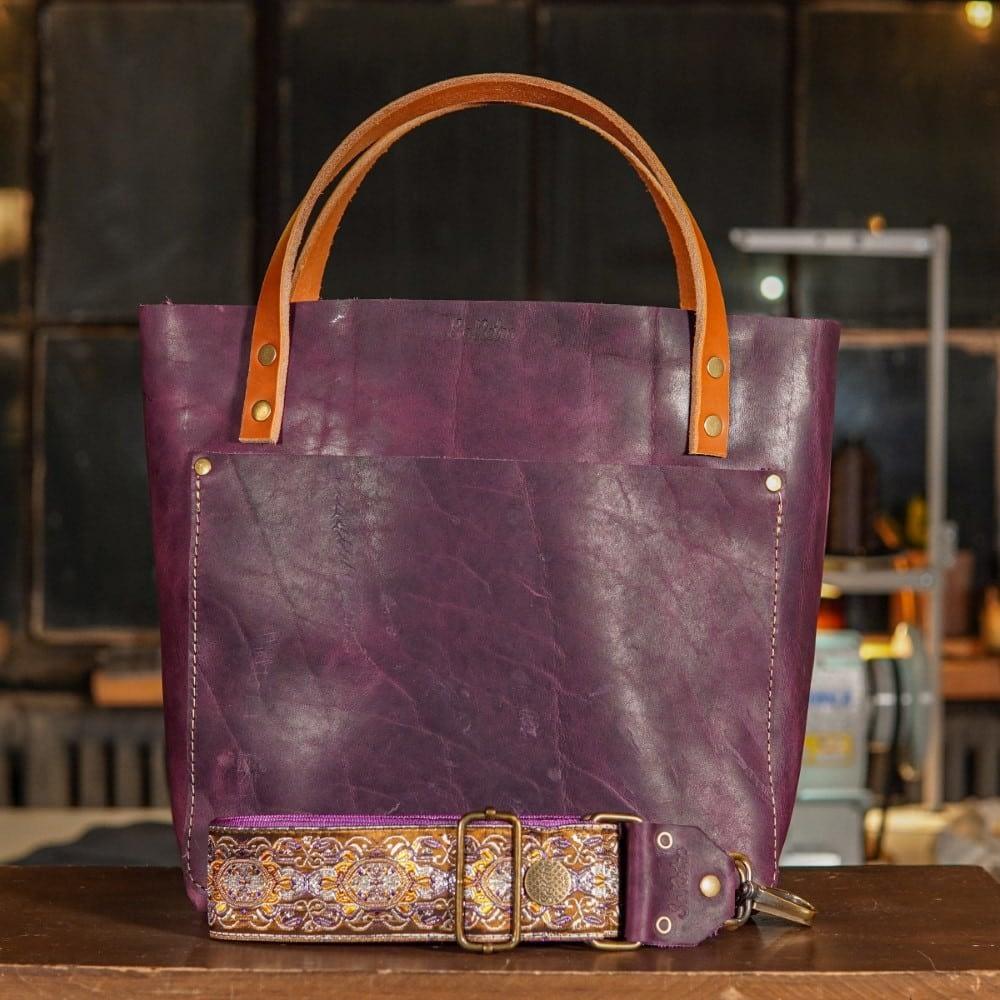 SoRetro Original FYG Leather Crossbody Tote – Purple Cowgirl with San Simeon on Fuchsia Webbing – Bronze Hardware