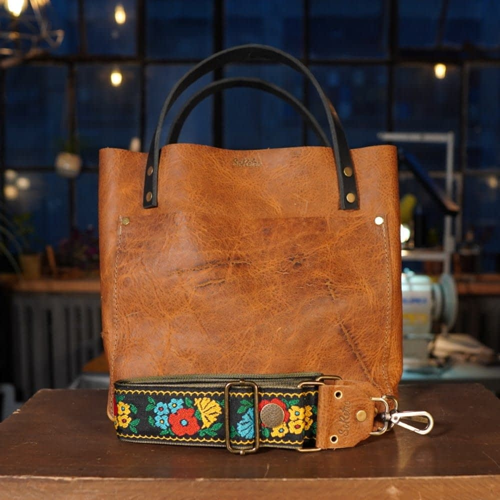 SoRetro FYG Leather Crossbody Tote - Cinnamon Queen with Poppies on Black on Olive Webbing - Bronze Hardware