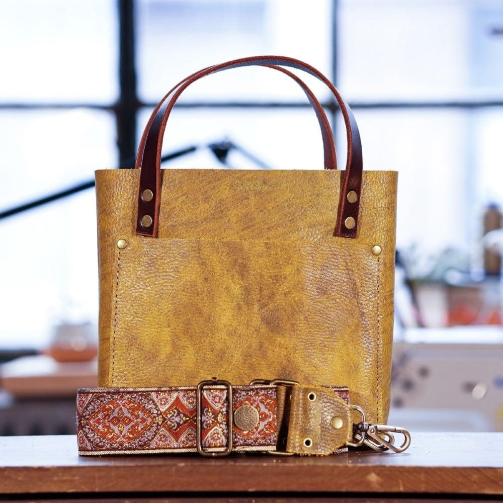 SoRetro Mini FYG Leather Crossbody Tote - Honey Dijon with Montecito on Mocha Webbing - Bronze Hardware