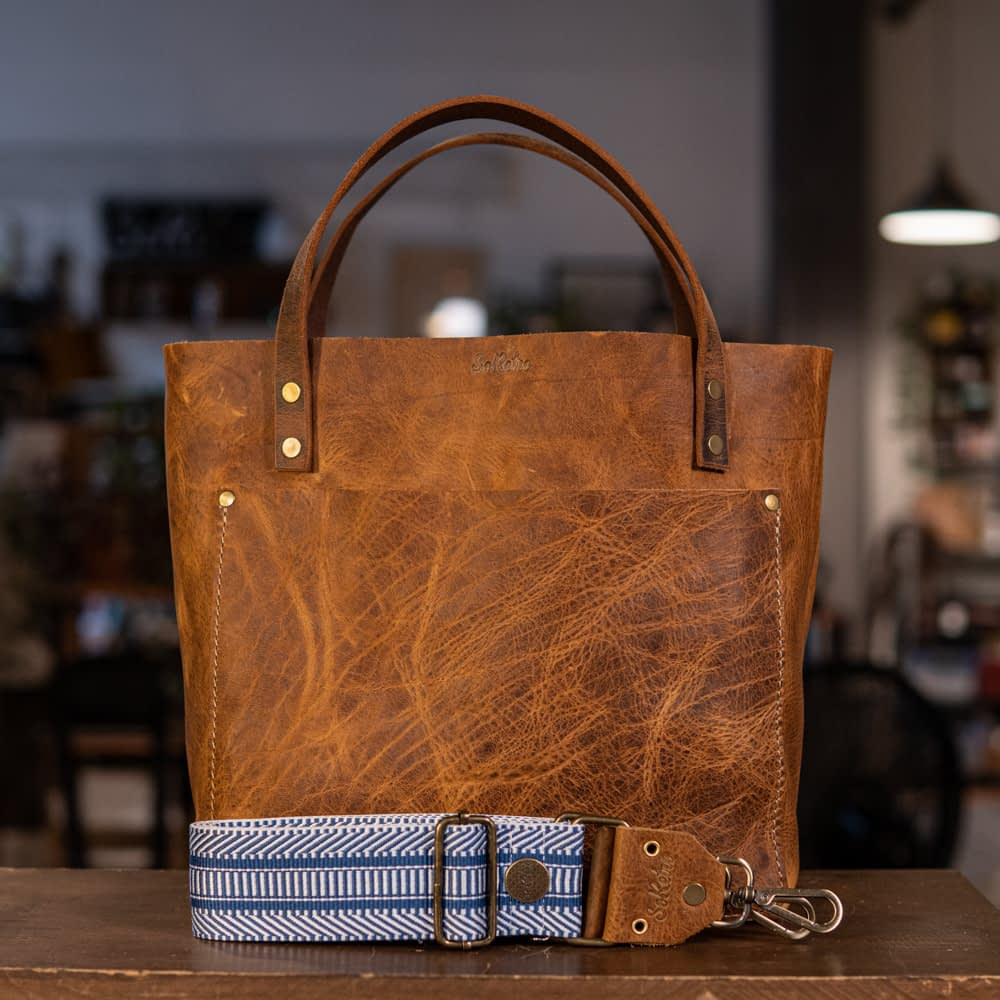 SoRetro Perfect FYG Leather Crossbody Tote – Cinnamon Queen with Hudson Bay Railway – Bronze Hardware