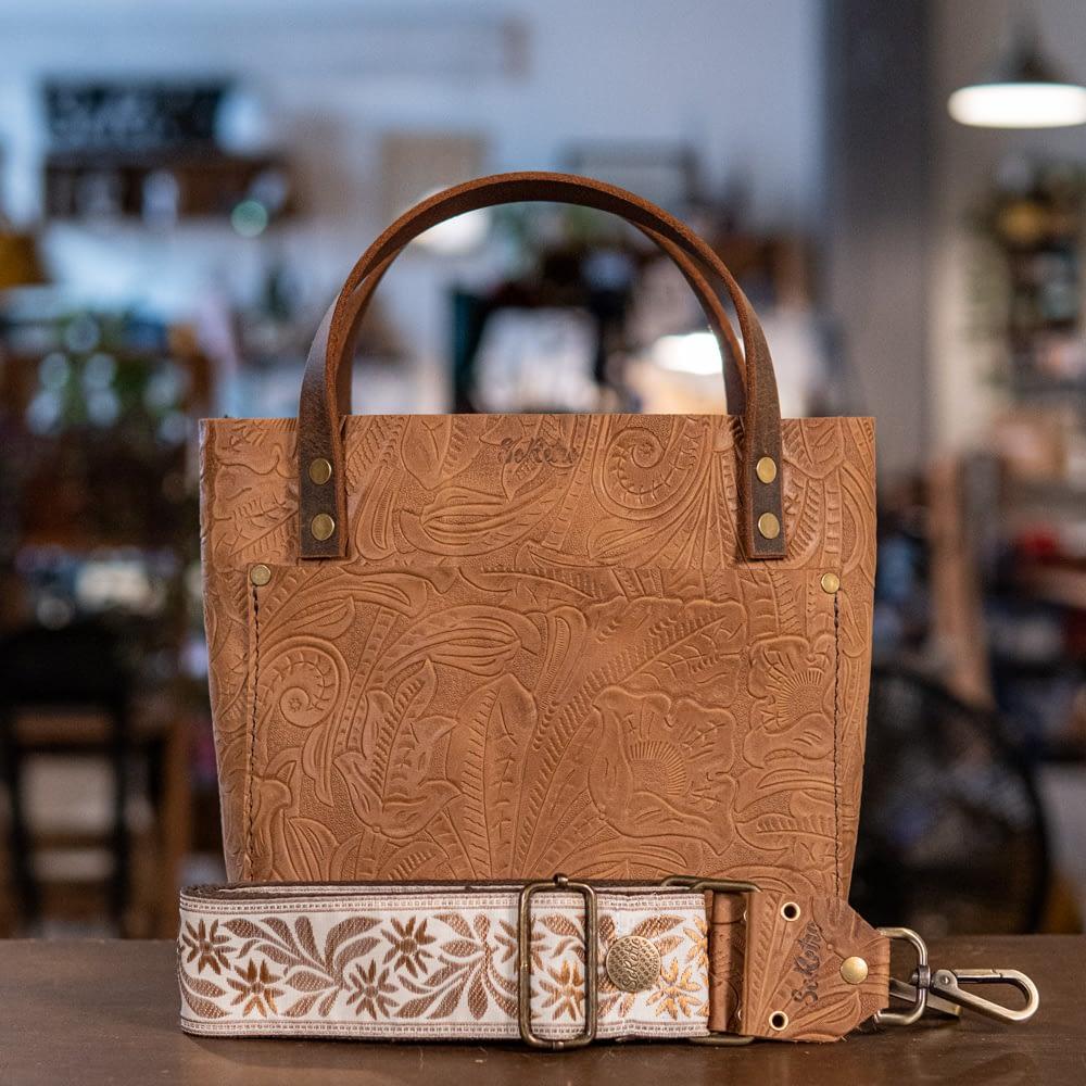 SoRetro Mini FYG Leather Crossbody Tote - Venetian Sand with Grand Haven on Chocolate Brown Cotton Webbing - Bronze Hardware