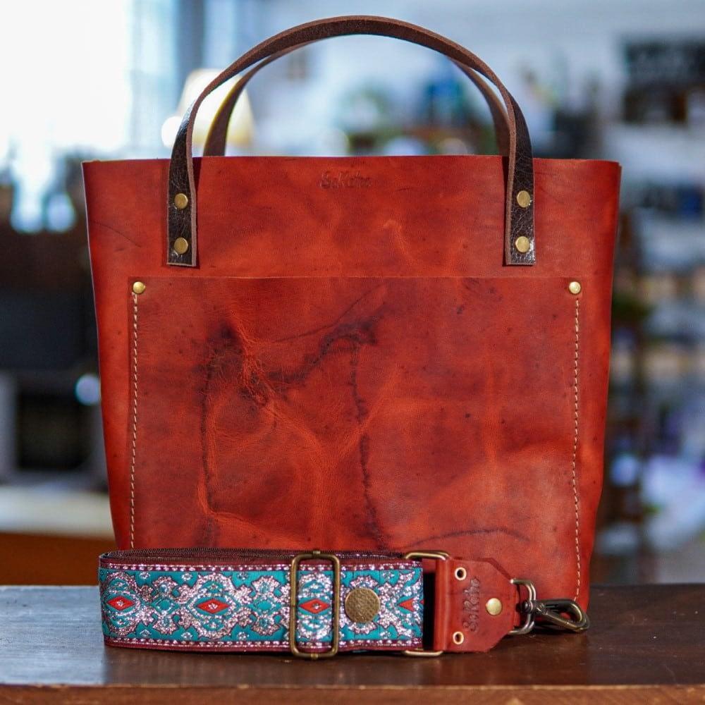 SoRetro Original FYG Leather Crossbody Tote – Mars Valley with Electric Blue Willow on Burnt Orange Webbing – Bronze Hardware - Branded Pocket