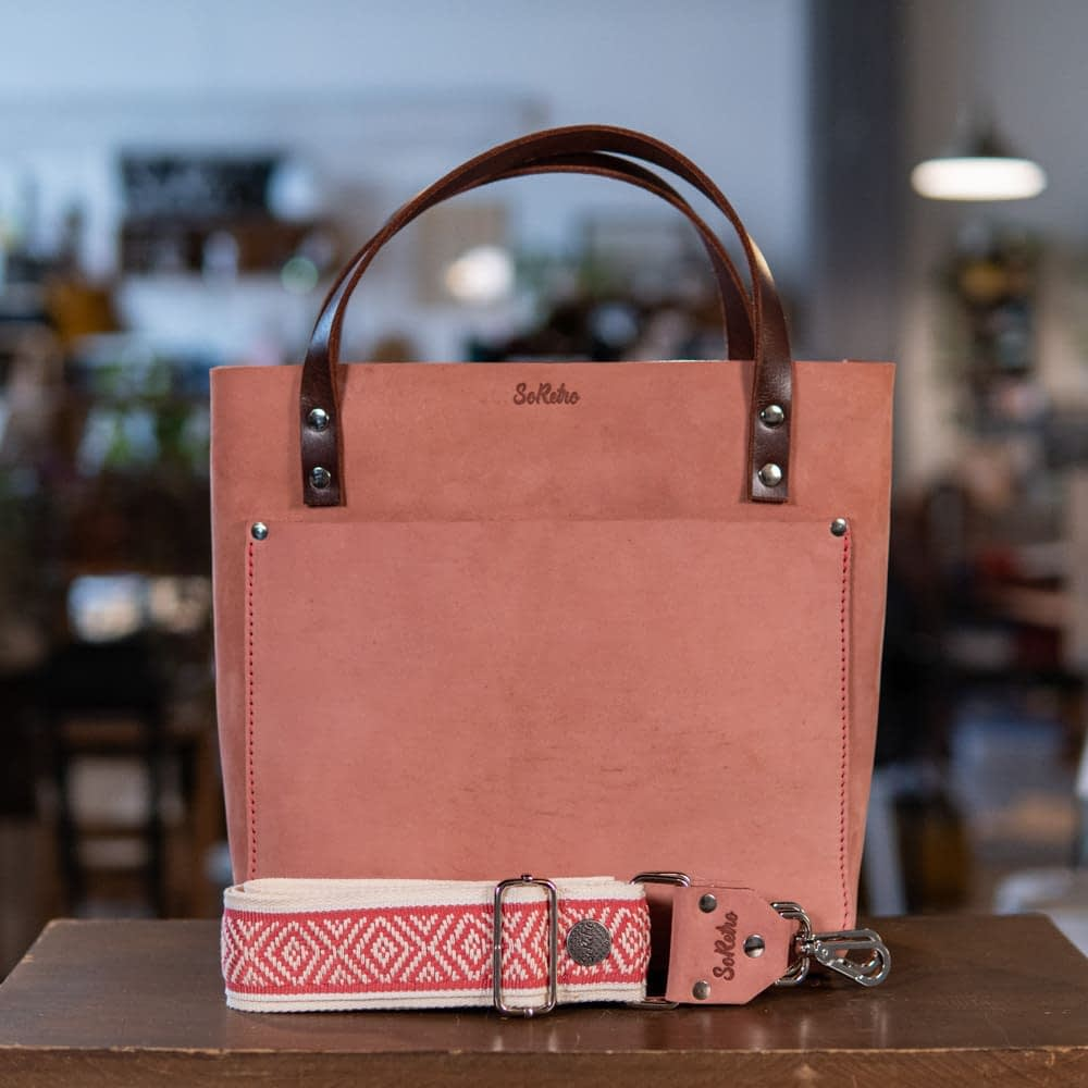 SoRetro Perfect FYG Leather Crossbody Tote – Fuzzy Pink Eraser with Pink Wicker on Cream Cotton Webbing – Silver Hardware