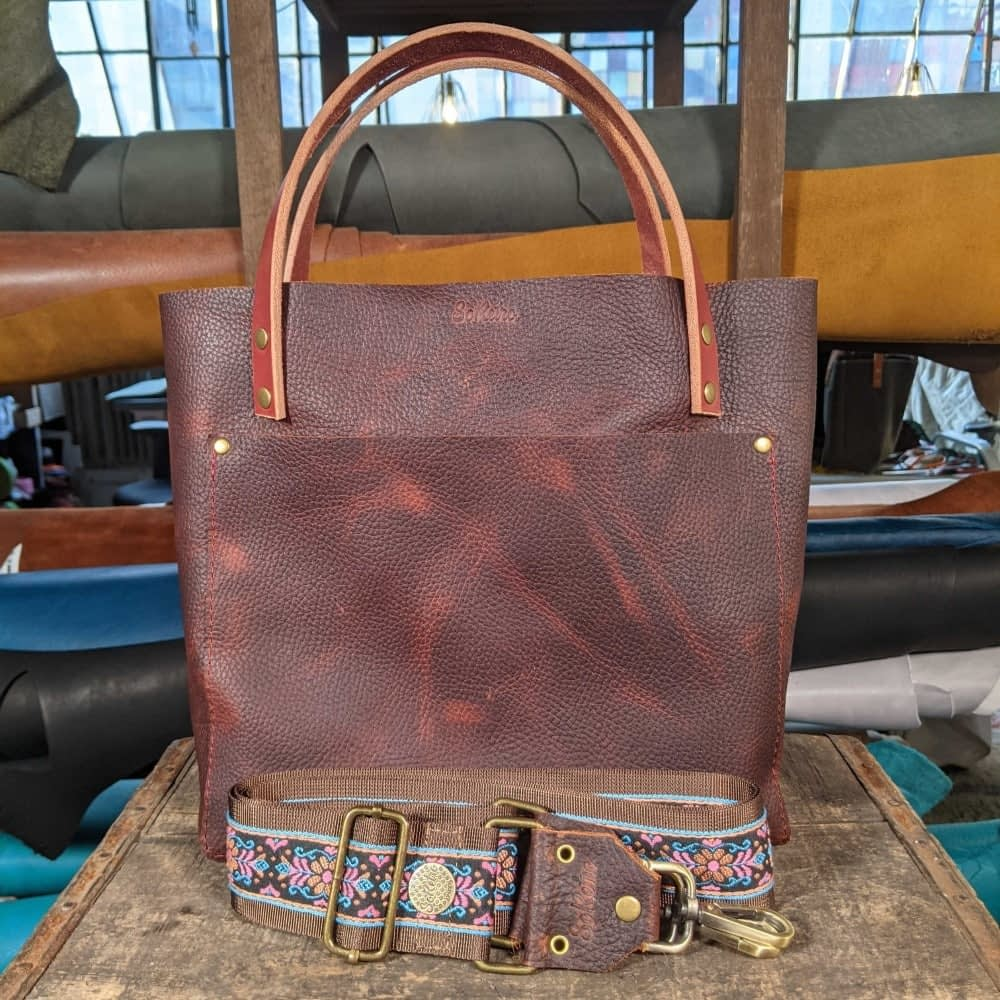 SoRetro FYG Leather Crossbody Tote - Chocolate Covered Cherries with Sweet Pea on Chocolate Brown