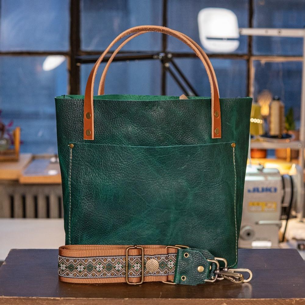 SoRetro Original FYG Leather Crossbody Tote – Marco Polo with Green Diamonds on Copper Webbing – Bronze Hardware