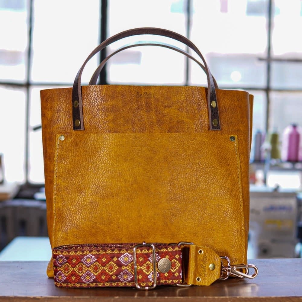 SoRetro Original FYG Leather Crossbody Tote – Nacho Cheese with Rothbury Brown on Chocolate Brown Webbing – Shiny Gold Hardware