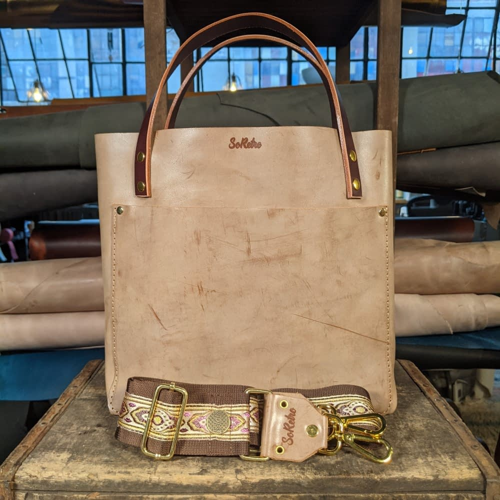 SoRetro FYG Leather Crossbody Tote - Leche con Cafe with Agate Harbor on Chocolate Brown Webbing - SHINY GOLD Hardware