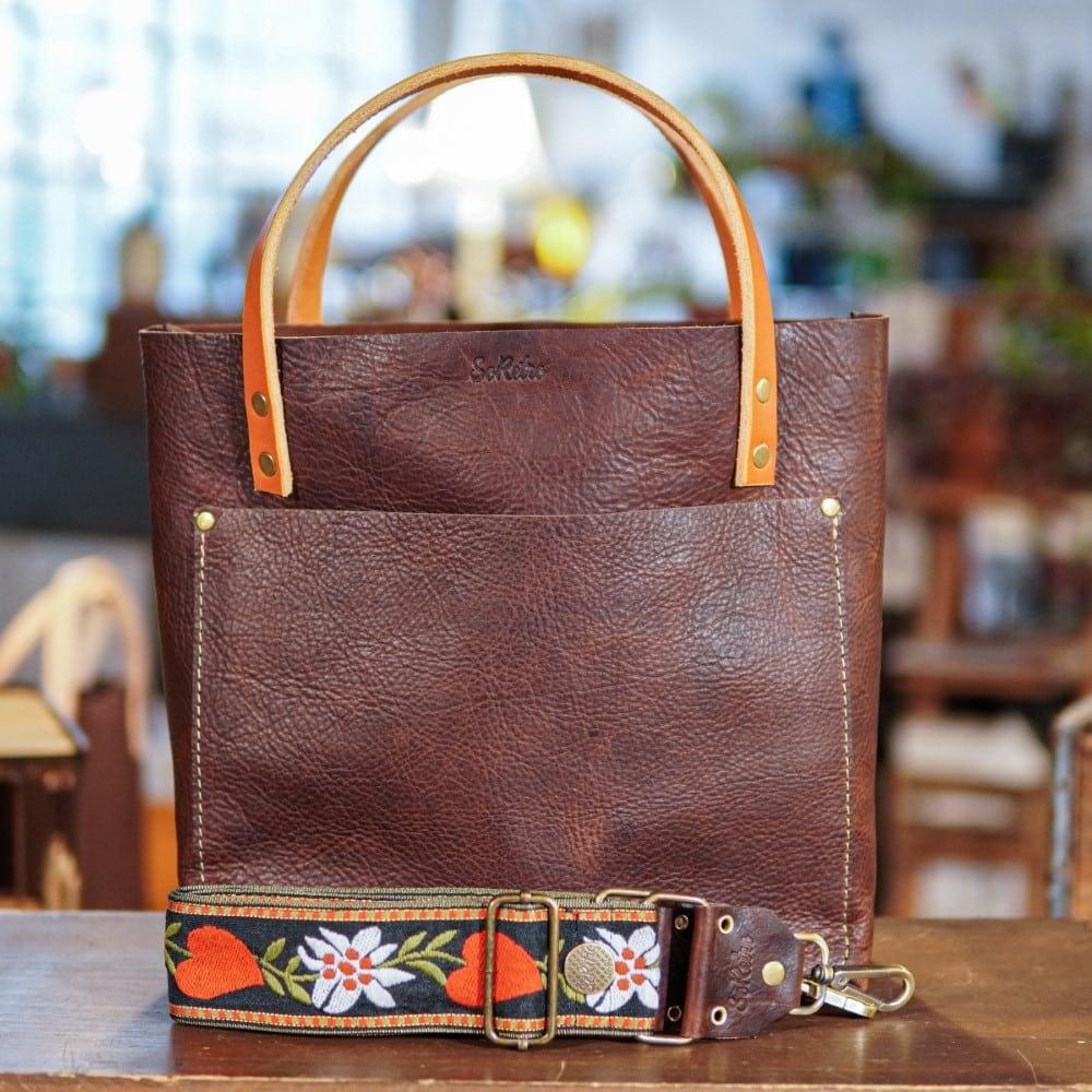SoRetro Original FYG Leather Crossbody Tote – Dark Roast with Bleeding Hearts on Olive Webbing – Bronze Hardware