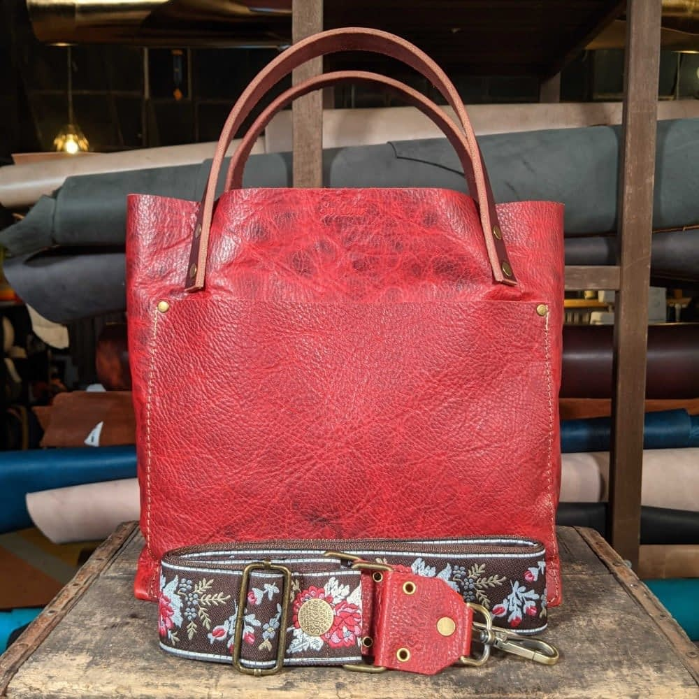 SoRetro FYG Leather Crossbody Tote - Firethorn with Chocolate Roses on Chocolate Brown Webbing -  Bronze Hardware