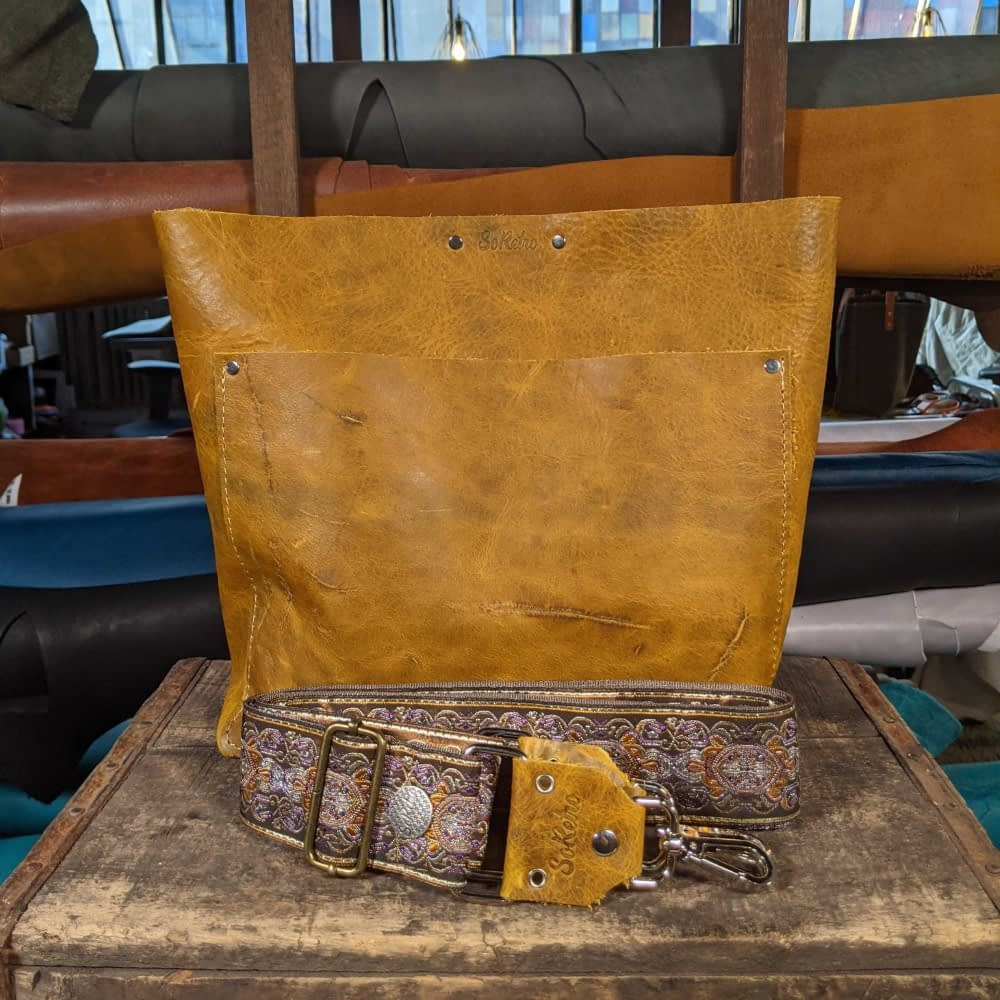 SoRetro FYG Leather Crossbody Tote - Crusty Mustard with San Simeon on Mocha