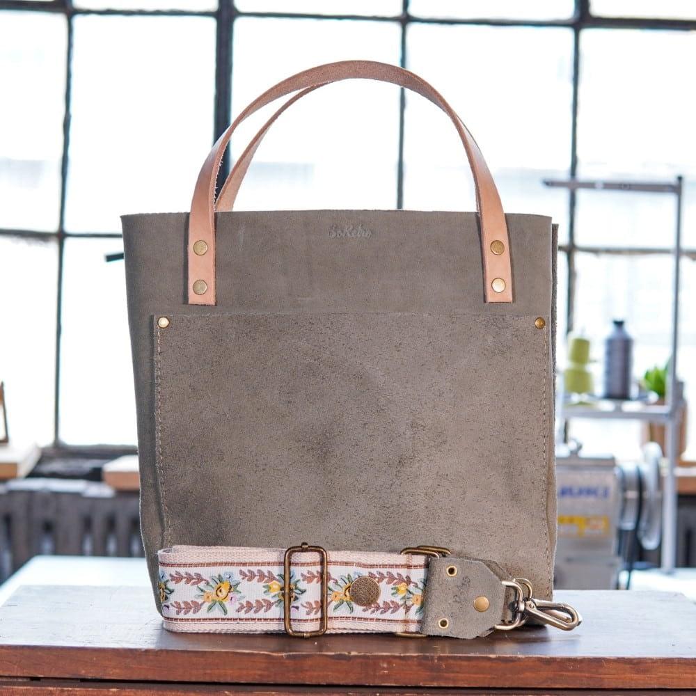 SoRetro Original FYG Leather Crossbody Tote – Wet Cement with Marygrove on Beige Cotton Webbing – Bronze Hardware