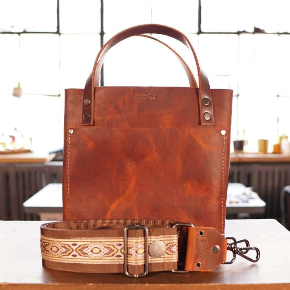 SoRetro Mini FYG Leather Crossbody Tote - Mars Valley with Agate Harbor on Chocolate Brown Webbing - Gunmetal Hardware