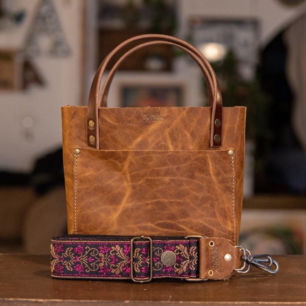 SoRetro Mini FYG Leather Crossbody Tote - Cinnamon Queen with Pink Heron Lagoon on Black Cotton Webbing - Bronze Hardware