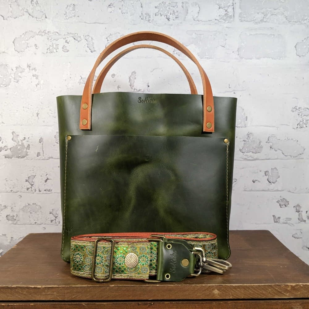 SoRetro FYG Leather Crossbody Tote - Emerald City with Paisley Paradise in Lime on Copper Webbing - Bronze Hardware